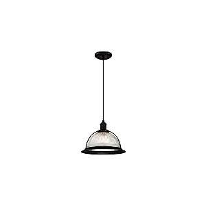 Westinghouse 6337340 63373 Luminaire Suspendu d'Intérieur à Une Lampe, Finition Nervuré Clair, Verre, Noir Mat