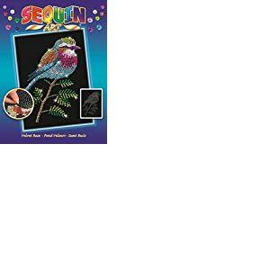 Sequin Art Mammut 8041806 Paillettes Oiseau Bouclée Kit de Bricolage avec Cadre en polystyrène, Image veloutée, Paillettes, feutres, Instructions pour Enfants à partir de 8 Ans