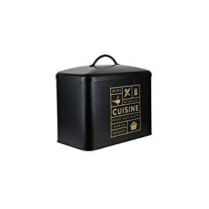 LA BOITE A BT6667 Boite de Rangement Cuisine, Metal, Noir-Doré, 34 x 19,6 x 31,5 cm