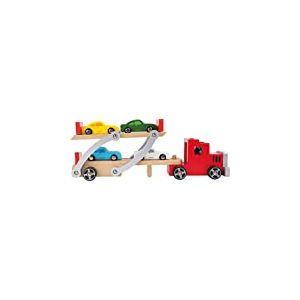 Small foot 4222 Camion Transport de voitures en bois, avec rampe de chargement mobile, remorque amovible et 4 voitures, à partir de 3 ans