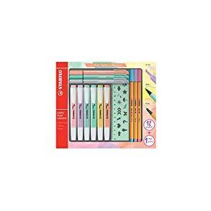 Surligneur - STABILO Pastel Collection - Coffret  Mixte  13 pièces: 6 STABILO Swing Cool + 3 STABILO Point 88 + 3 STABILO PointMax + 1 règle pochoir