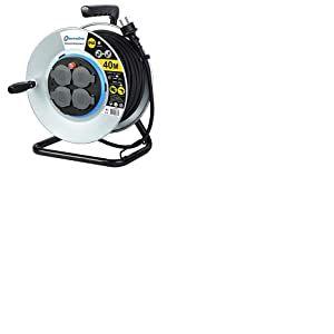 Electraline 208683 Enrouleur Electrique Professionnel 40M pour chantier en Métal 4 prises IP44 avec Guide pour le câble, Platine fixe et poignée ergonomique