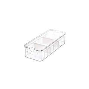 iDesign Casier Rangement pour Frigo (37,6 cm x 16,1 cm x 9,6 cm), Grand Bac Alimentaire en Plastique sans BPA, Bac Rangement pour la Cuisine ou le Frigidaire, Transparent