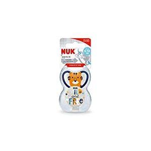 Sucette et attache-sucette NUK Space, 6-18mois, silicone, sans BPA, tigre + Wild & Free