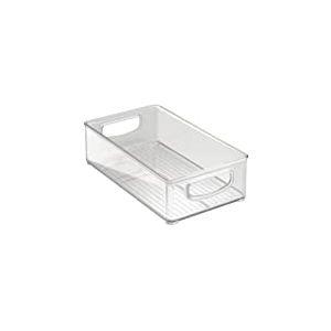 iDesign bac rangement frigo, boîte alimentaire moyenne en plastique, boîte conservation alimentaire à poignées, transparent