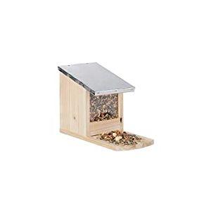 Relaxdays, Mangeoire en bois, toit en métal étanche, à poser, Hutte pour écureuil, naturel, nature