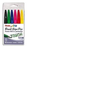 Pentel SES15C Marqueur, 6pièces, noir/rouge/bleu/vert/jaune/rose