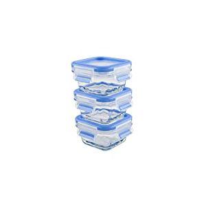 Emsa 515988 Lot de 3 boîtes alimentaires pour nourriture de bébé en verre avec couvercle en plastique, 0.2 Litres, Transparent/bleu, Clip & Close