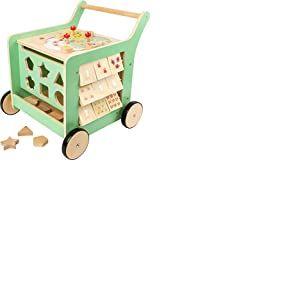 """Small foot 10455 chariot de marche en bois """"Move it !"""" , favorise la dexérité, la motricité et l'apprentissage à la marche, à partir de 1 an"""