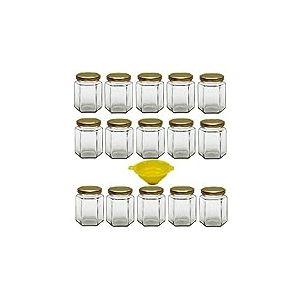 Viva Haushaltswaren G1060196/18T/X Lot de 15 bocaux de Confiture avec couvercles dorés 196ML Entonnoir de Remplissage Jaune avec Dispositif d'arrêt Inclus