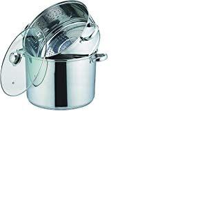 Kamberg - 0008059 - Couscoussier / Cuit Vapeur / Faitout 3 en 1 -Diamètre 20 cm - 4 Litres - Acier Inoxydable Haute Qualité - Couvercle en verre - Tous feux dont induction
