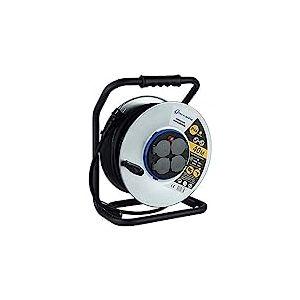 Electraline 208685 Enrouleur electrique professionnel water proof IP44 cåble 40m en caoutchouc 3G2.5m? pour chantier en Métal 4 Prises avec guide pour Le câble, Noir