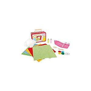 """3921 Valise pour enfant """"set de couture"""", y compris tissus, ciseaux, aiguilles, boutons et perles en bois, etc., à partir de 3 ans"""
