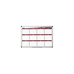 Bi-Office Tableau blanc 90x60cm Planning annuel magnétique 12mois