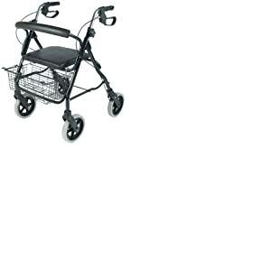 Nottingham Rehab Supplies Déambulateur en aluminium avec 4 roues, 1 sac et 1 panier