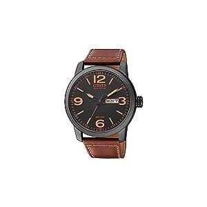 Citizen - BM8476-07EE - Montre Homme - Quartz Analogique - Cadran Noir - Bracelet Cuir Rouge