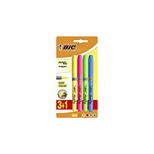 BIC Highlighter Grip Surligneurs Pointe Biseautée - Couleurs Fluo Assorties, Blister de 3+1