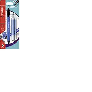 Stylo roller effaçable - STABILO Gel Exxx - Pack de 1 stylo à encre gel + 3 recharges - Bleu