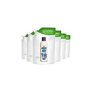 Aussie, Miracle Moist Shampoing, Recharge Responsable Utilisant 60 % De Plastique En Moins, Pour Cheveux Secs, Abîmés et Réellement Assoiffés, lot de 6x480 ml