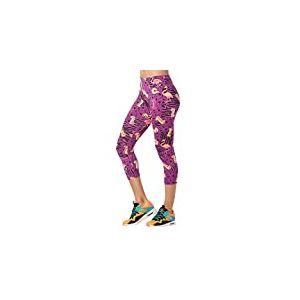 Zumba Dance Compression de Fitness Pantalon de Sport Femmes Faire des Exercices Sport Elastiques Imprimé Capri Legging, Power Purple, XS