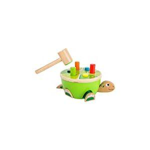 Small Foot- Jeu de Taper Tape sur la Tortue en Bois, certifiée FSC 100%, Design Unique grâce aux éléments Qui sautent à Chaque Jouets, 11221, Multicolore