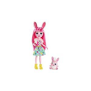 Enchantimals Mini-poupée Bree Lapin et figurine animale Twist, aux longs cheveux roses, avec jupe amovible et faux col, jouet pour enfant, FXM73
