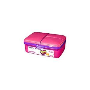 Sistema Slimline Quaddie Boîte à Lunch Repas avec Bouteille, Plastique, Rose/Violet, 1.5 L