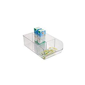 iDesign boîte de rangement à 3 compartiments, bac plastique moyen pour le placard ou le tiroir, bac alimentaire empilable sans couvercle, transparent