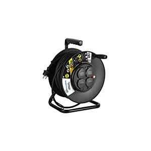Electraline 208678 Enrouleur Electrique Professionnel 40M pour Chantier Prises IP44 avec Guide pour Le câble, Platine Fixe et poignée Ergonomique, Noir