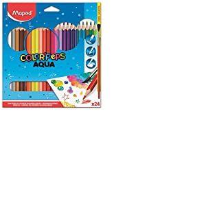 Maped Color'Peps - Crayons de Coloriage Aqua pour Aquarelle Mine Résistante - Set de 24 Crayons de Couleurs Aquarellables + 1 pinceau