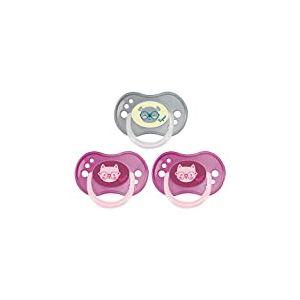 Tigex sucettes réversibles jour et nuit, de 18 à 36mois, silicone, sans BPA, rose et gris [Filles], lot de 3