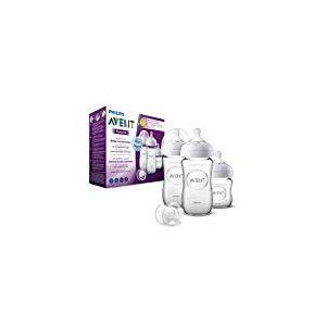 Philips Avent Natural SCD303/01 Lot de 3 flacons de bouteilles en verre pour nouveau-né 120 et 260 ml
