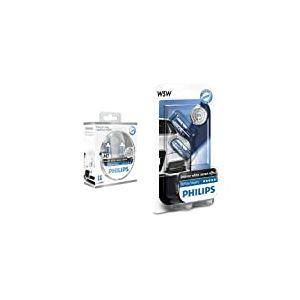 Philips PH H755W Ampoules Halogène Vision H7 12 V, Blanc, Set de 2 + Philips 681372 Ampoules Xenon White Vision 2 W5W, 12 V