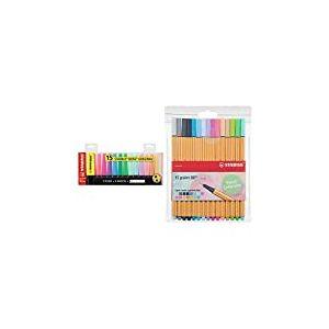 Surligneur - STABILO BOSS ORIGINAL - Set de bureau x 15 surligneur - fluo et pastel assortis & Stylo feutre pointe fine - STABILO Point 88 - Pochette de 15 stylos-feutres - Couleurs pastel