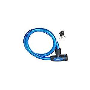 Câble antivol articulé pour vélo avec serrure à clé, longueur 1m, bleu