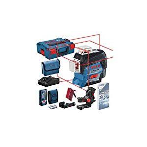 Niveau Laser 3 Lignes Bosch Professional GLL 3-80 C avec Cellule de Réception LR7, Chargeur, 1 Batterie 12V 2Ah, en L-Boxx