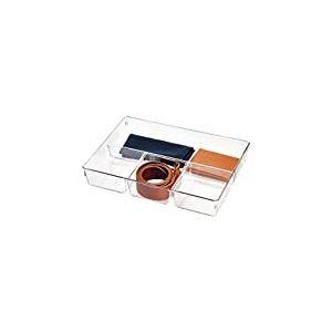 iDesign bac tiroir pour armoire ou coiffeuse, petit casier rangement plastique pour accessoires, séparateur tiroir à 4 compartiments, transparent