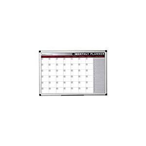 Bi-Office Earth - Tableau Planning Magnétique Mensuel avec Cadre en Aluminium, 90 x 60 cm