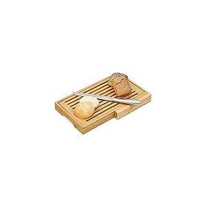 Relaxdays 10024612 Planche à pain pratique avec couteau en acier inoxydable, grille à miettes en bambou, HBT 4 x 40 x 24 cm