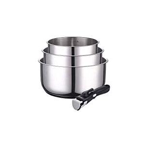 KAMBERG - 0008116 - Set 3 casseroles inox 16 / 18 / 20 cm + Poignée amovible - Tous feux dont induction