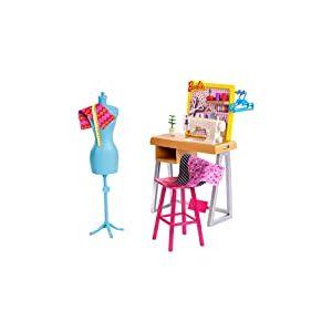 Barbie Métiers Coffret atelier de mode avec table de couture, mannequin et accessoires pour poupée, jouet pour enfant, FXP10
