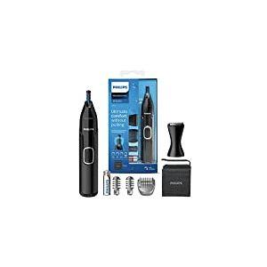 Philips Series 5000 Tondeuse pour nez, oreilles et sourcils à piles avec fixation de débroussailleuse – étanche à la douche, sans tirage garanti, 100% confort – Système de protection – NT5650/16