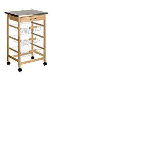 Premier Housewares 2403027 Chariot de Cuisine Broche avec Tiroir/3 Paniers à Fil/Roues en Acier Inoxydable