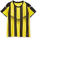 PUMA Liga Striped Jr Maillot Mixte Enfant, Cyber Jaune Noir, FR Unique (Taille Fabricant : 152)