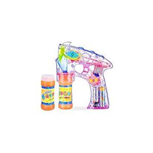Relaxdays Pistolet à bulles enfant machine à bulles savon canon à bulles lumière LED set de 2, transparent - version allemande
