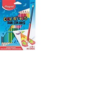 Maped Color'Peps Crayons de Coloriage en Bois 2 en 1 Duo de Couleur - Etui de 18 Crayons de Couleurs Double Mine Résistante pour 36 Couleurs