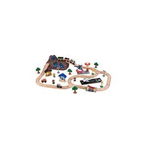 KidKraft 17826 Circuit de train en bois Bucket Top Mountain, jouet enfant incluant 61 pièces