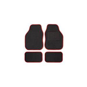 Safe Travel 27552 Tapis de sol universels pour véhicules à conduite à droite, Talon soudé, Coutures de couleur Rouge