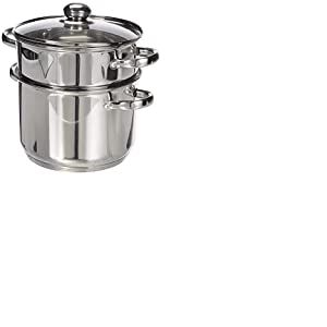 Kamberg - 0008070 - Couscoussier / Cuit Vapeur / Faitout 3 en 1 -Diamètre 22 cm - 6 Litres - Acier Inoxydable Haute Qualité - Couvercle en verre - Tous feux dont induction