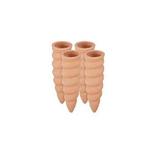 Relaxdays Cône en Argile, Lot de 4 Accessoire d'arrosage, Bouteilles d'1,5 L, 16,5 x 5 cm, Terre Cuite, Terracotta